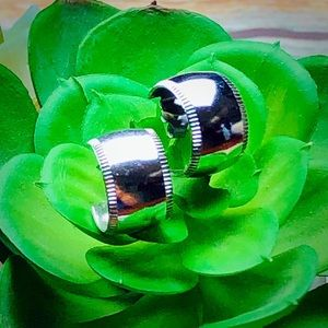 """1/2"""" Chunky Silver Hoops VINTAGE"""